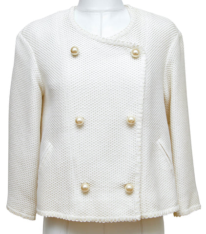 CHANEL Tweed Jacket Coat White Pearl 3/4 Sleeve Double Breasted 2013 13S Sz 34 - Evesherfashion