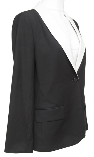 ELIZABETH AND JAMES Black Blazer Jacket White Collar Long Sleeve Sz 4 - Evesherfashion