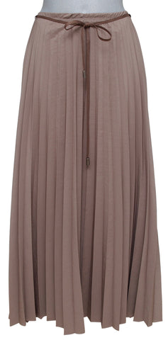BRUNELLO CUCINELLI Skirt Dress Maxi Pleated Taupe Brown Full Length Sz 46 10 - Evesherfashion