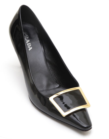 PRADA Black Patent Leather Pump Gold Buckle Pointed Toe Sz 40 - Evesherfashion