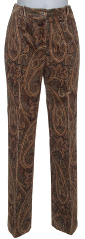 CELINE Pant Straight Leg Corduroy Paisley Print Brown Tan Green Sz 40 - Evesherfashion
