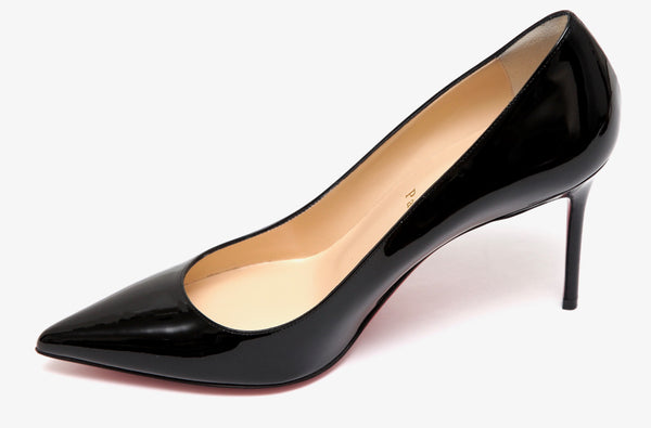 CHRISTIAN LOUBOUTIN Black Patent Leather Pump SO KATE Pointed Toe 38 - Evesherfashion