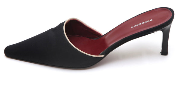 BURBERRY Black Mule Slide Pump Textile Beige Leather Trim Burgundy Lining 39.5 - Evesherfashion