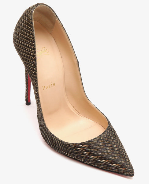 CHRISTIAN LOUBOUTIN Pump SO KATE GLITTER CHAIN 120mm Black Gold 38 - Evesherfashion