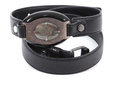 LANVIN Belt Leather Black Silver HW Buckle Sz M - Evesherfashion