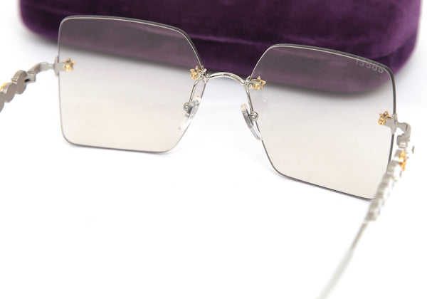 GUCCI Sunglasses Square Crystals Mother of Pearl Star Studs GG0644S 004 - Evesherfashion