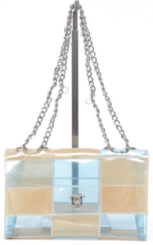 CHANEL Flap Shoulder Bag PVC NAKED PATCHWORK Silver HW Chain Link Tan Blue - Evesherfashion
