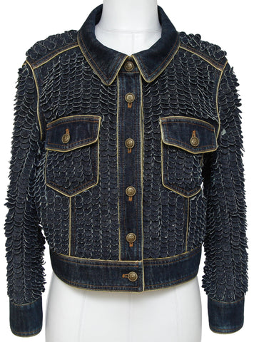 CHANEL Denim Jacket Dark Blue PARIS-DALLAS Coat Long Sleeve Gold Trim Sz 38 - Evesherfashion