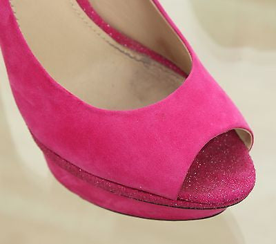 B Brian Atwood Platform Pump Pink Suede Leather Peep Toe Glitter Heel 7.5 - Evesherfashion