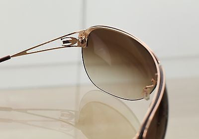 Roberto Cavalli Sunglasses Brown Gradient Lens Shield Gold Hardware W/Case - Evesherfashion