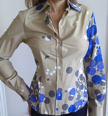 PAUL SMITH Shirt Top Blue Cut Out Back POLKA DOT AMBER CRYSTALS Long Sleeve 42 - Evesherfashion