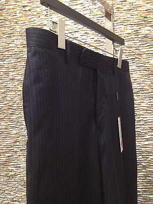 MASATOMO Black Pinstripe Pants Wool Silk Trouser Sz L BNWT$1085 - Evesherfashion
