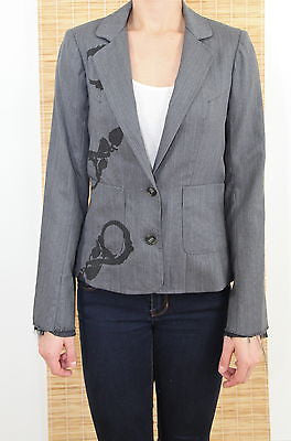Libertine Grey Screen Printed Jacket Button Closure Front Pockets XS $1220 - Evesherfashion