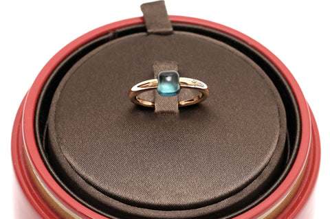 POMELLATO Ring 18K Rose Gold BLUE TOPAZ MAMA NON MAMA Jewelry Sz 52 - Evesherfashion