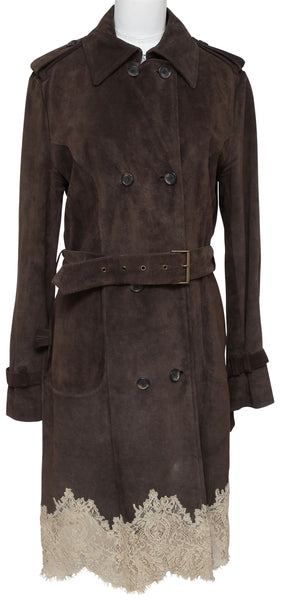 RED VALENTINO Coat Jacket Brown Suede Lace Trench Double Breasted Belt Buckle 44 - Evesherfashion
