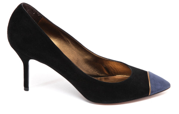 YVES SAINT LAURENT YSL Suede Leather Pump Black Gold Blue Pointed Toe Sz 38.5 - Evesherfashion