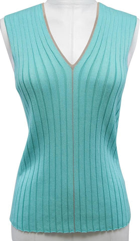 AKRIS Knit Sweater Sleeveless Mint Green Beige V-neck US 8 F 40 - Evesherfashion