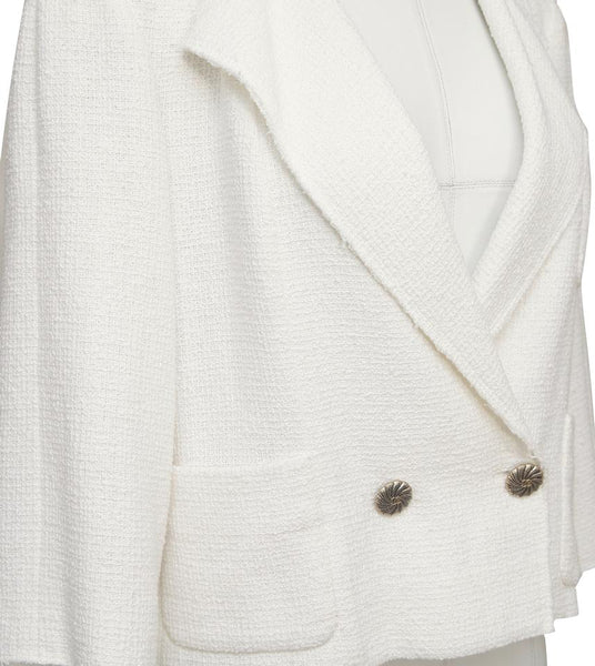 CHANEL Jacket Blazer Double Breasted Tweed Ecru Ivory Gold Sz 40 Spring 2012 12P - Evesherfashion