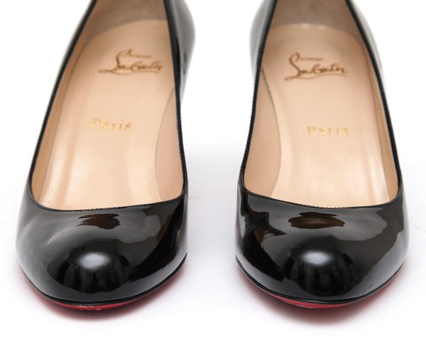 CHRISTIAN LOUBOUTIN Black Patent Leather Pump SIMPLE 70MM Round Toe Heel Sz 38 - Evesherfashion