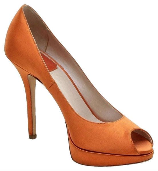 DIOR Platform Pump Peep Toe Orange Satin Leather Gold HW 37.5 - Evesherfashion