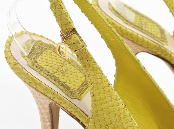 CHRISTIAN DIOR Yellow Platform Sandal Snakeskin Leather Straw Floral Ankle 38 - Evesherfashion