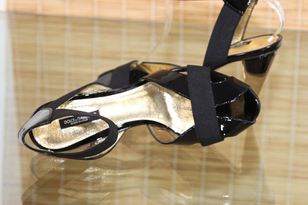 DOLCE & GABBANA Black Sandals Patent Leather Ankle Strap Gold Sz 39 - Evesherfashion