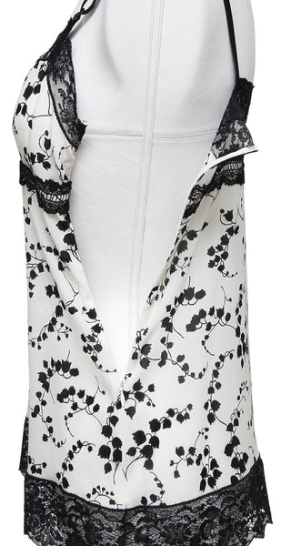 DOLCE & GABBANA Silk Blouse Top Floral Lace Black White Spaghetti Strap Sz 40 - Evesherfashion