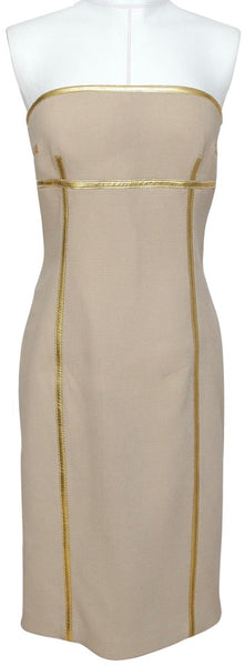 MICHAEL KORS Strapless Dress Beige Gold Piping Wool Sz 6 Made In Italy - Evesherfashion