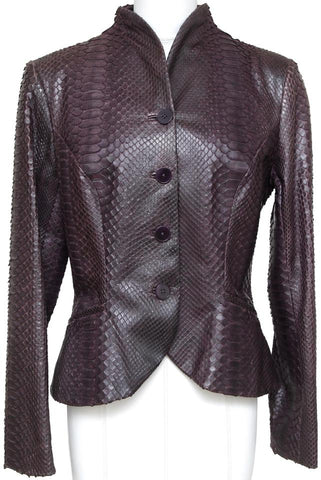 RALPH LAUREN Black Label Jacket Coat Blazer Purple Snakeskin Leather Sz 8 - Evesherfashion