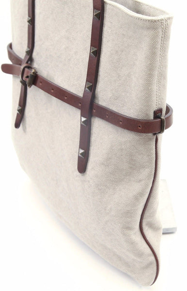 TOMAS MAIER Tote Shoulder Bag Canvas Brown Leather Metal Stud - Evesherfashion