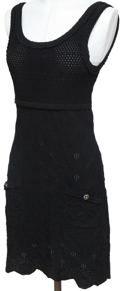 CHANEL Black Knit Dress Pointelle Sleeveless Knee Length Silver 38 Cruise 2011 - Evesherfashion