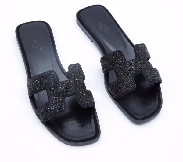 HERMES Sandal H Oran Black Leather Suede Crystal Flat Slide Mule 38 Ret $1350 - Evesherfashion