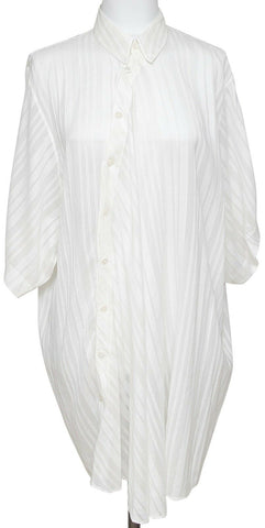 STELLA McCARTNEY Tunic Blouse Shirt Top Stripe Ivory Short Sleeve Button Sz 38 - Evesherfashion