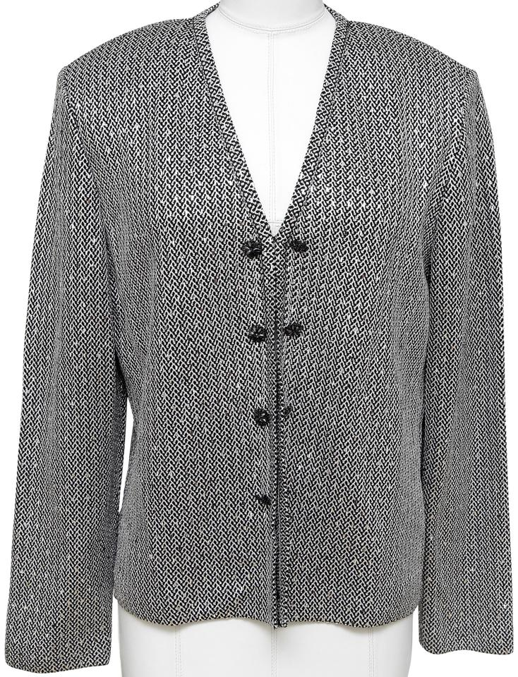 ST. JOHN EVENING Jacket Cardigan Sequin Black Silver Rhinestone Knit Blazer Sz 8 - Evesherfashion