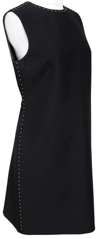 VALENTINO Dress Black Sleeveless Gold Stud HW Wool Silk Sz 8 - Evesherfashion