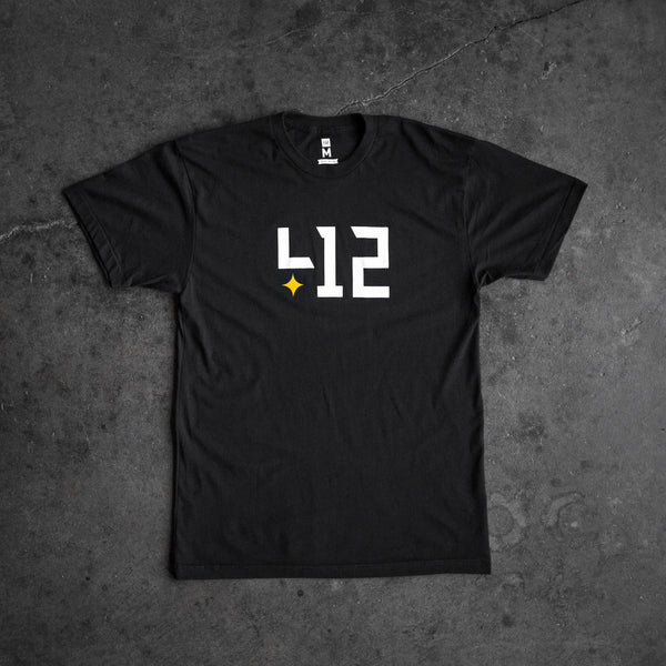 Shop 412 offers a core black 412 tee with the classic logo. Represent Pittsburgh in style with this custom body, 50/50 blended shirt. Extremely soft and comfortable.