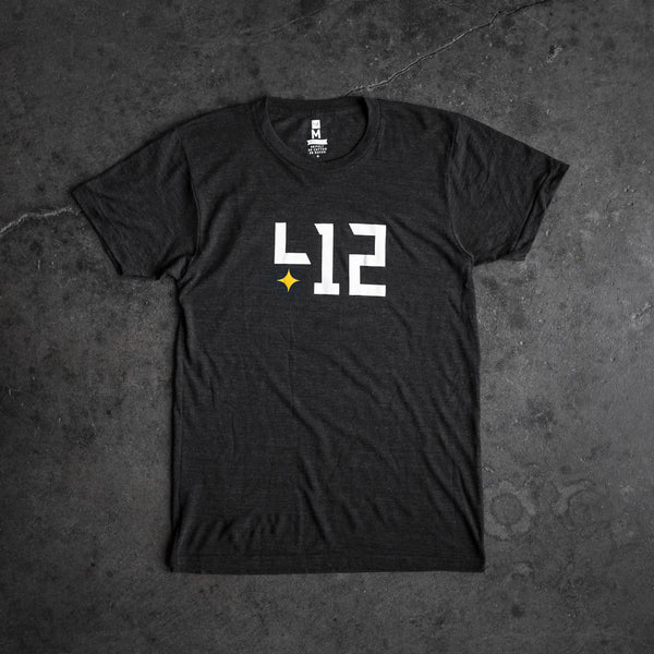 Shop 412 offers the 412 core tee in tri black with the classic logo. Represent Pittsburgh in style with this custom body, tri-blended shirt for minimal shrinkage. Extremely soft and comfortable.
