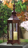Large 20.9 in. Mahogany Bronze Metal Moroccan-style Hanging Candle Lantern, Clear Glass