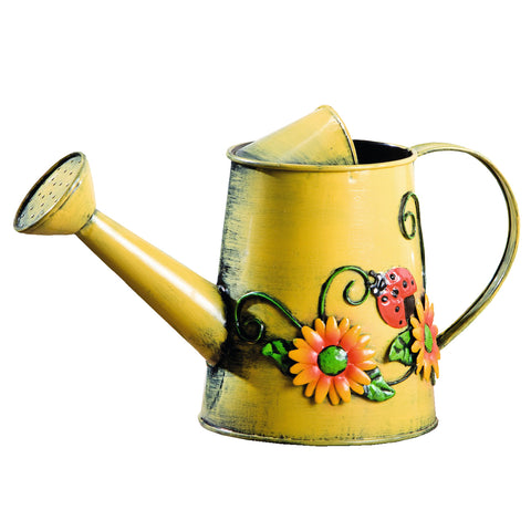 Westcharm Decorative Sunflower & Ladybug Metal Watering Can (Vol: 4 cups)