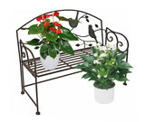 Decorative Folding Metal Bench Plant Stand with Bird and Vines