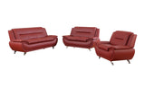 3 Piece Faux Leather Contemporary Living Room Sofa, Love Seat, Chair Set, Red