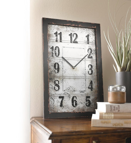 13.75 in. by 21.65 in. Rectangular Wooden Wall Clock