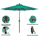 9 ft Aluminum Patio Umbrella Outdoor Garden Yard Deck Table Umbrella with Cover, 8 Sturdy Ribs, Crank Open, Push Button Tilting, Green / Flamingo Flower Umbrella