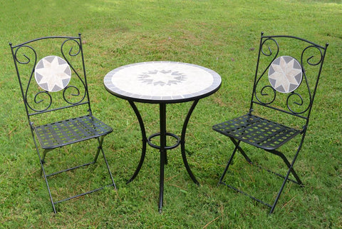Mosaic Bistro Set - Table and Two Foldable Chairs for Yard, 3 Pieces
