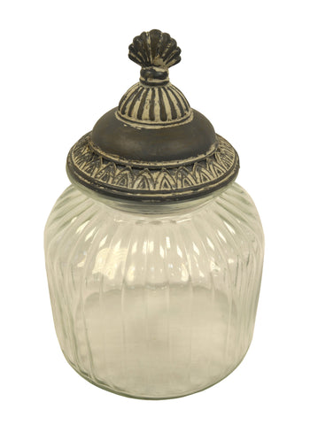 Glass Cotton Ball Holder - Asian-themed Glass Container with Metal Lid