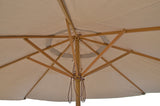 9 ft Taupe Patio Umbrella - Outdoor Wooden Market Umbrella