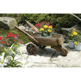 Rustic Charm Wooden Half Barrel Wheelbarrow Planter with Three Wheels
