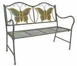 Junior Metal Butterfly Bench - Kids Park Bench w/ Butterflies For Yard or Garden