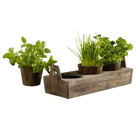 Wooden Small Herbs Pots - Set of 3 Outdoor Planter and Tray