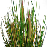 18 in. Artificial Reed Plant with Pot - Cattails and Reed Grass in Red Pot